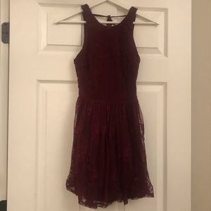 Maroon high neck lace dress